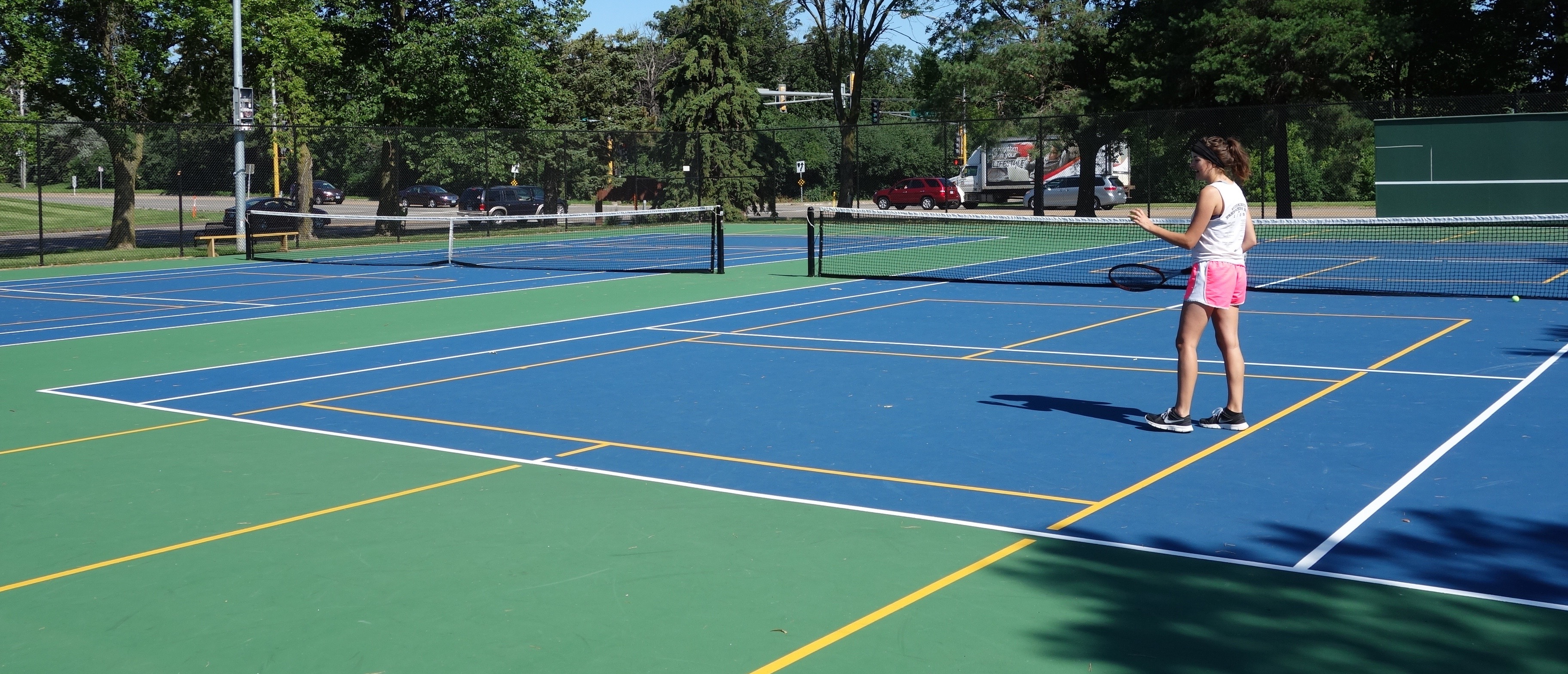 Evergreen tennis court