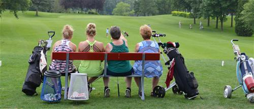 Foursome waiting to tee off